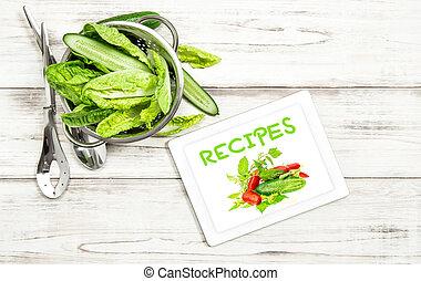 salada, tabuleta, legumes, receita, pc, livro, internet, cozinheiro