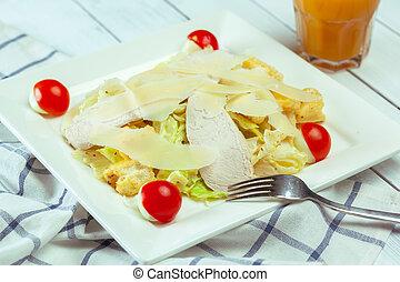 salada verde, madeira, caesar, tabela, galinha