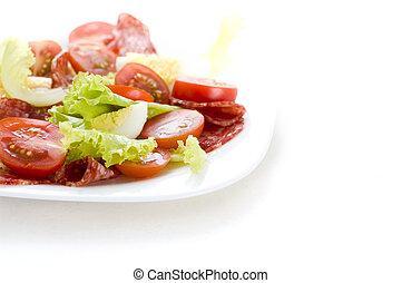 salade, à, salami, tomate