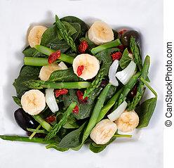 salade, alimentaire, haut, aérien, frais, fin, vue