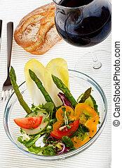 salade, asperge, bol, verre, vert, frais