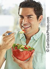 salade, bol, mi, appareil photo, adulte, tenue, homme souriant