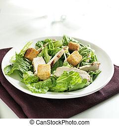 salade caesar, met, gegrilde kip