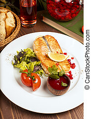 salade, citron, tomates, sauce, fish, saumon, filet, vert, grillé, plaque., blanc, trempette, rouges
