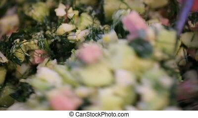 salade, closeup, bol, remuer