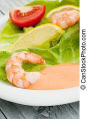 salade, crevette