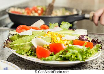 salade, cuisine, closeup, femme, plat, frais, moule