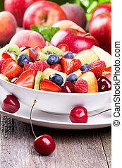 salade, fruits