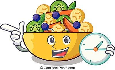 salade, horloge, sain, bol, fruit, frais, dessin animé