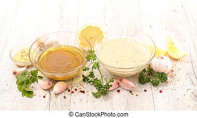 salade, huile, sauce, ail, moutarde