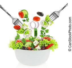 salade, légumes, bol, mélangé, frais, tomber
