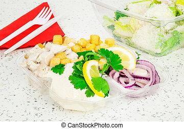 salade, loin, plastique, césar, prendre, récipients