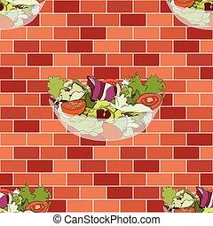 salade, mur, bol, orange, brique, rouges