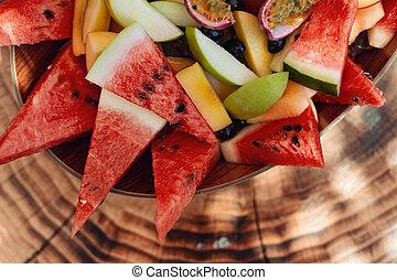 salade, sain, bol, arrière-plan., fruit, frais, bois
