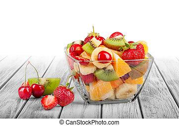salade, sain, bol, bois, fruit, fond, frais, blanc