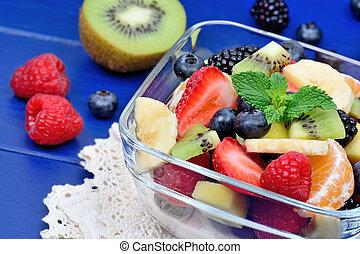 salade, sain, bol, bois, fruit, fond, frais