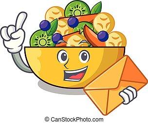salade, sain, bol, enveloppe, fruit, frais, dessin animé