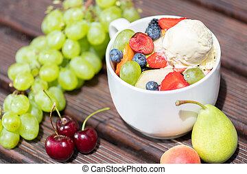 salade, sain, bol, glace, arrière-plan., fruit, frais, bois, crème