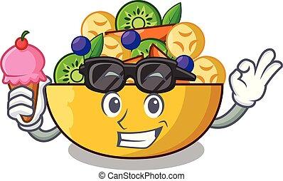 salade, sain, bol, glace, fruit, frais, dessin animé, crème