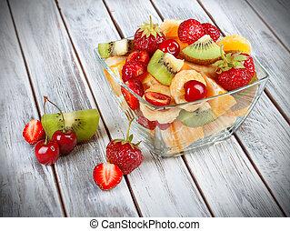 salade, sain, clair, bol, bois, fruit, fond, frais