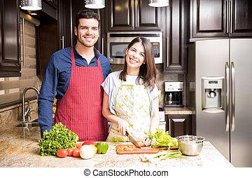 salade, sain, couple, hispanique, confection, cuisine