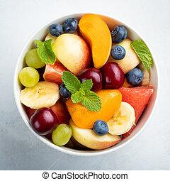 salade, sain, sommet, bol, arrière-plan., fruit, frais, blanc, vue