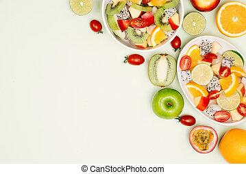 salade, sain, sommet, bol, arrière-plan., fruit, frais, bois, vue.