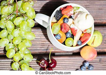 salade, sain, sommet, bol, glace, arrière-plan., fruit, frais, bois, vue., crème