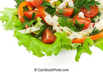 salade, salade verte, poivre, sain, radis, légume, orange, tomates