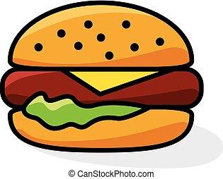 salade verte, hamburger, fromage