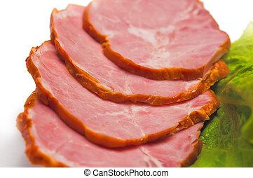 salade verte, jambon, délicieux, tranches