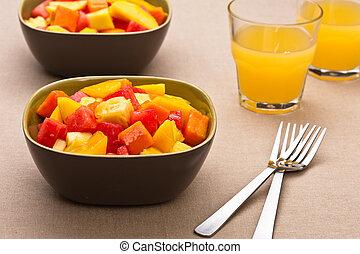 saladier, deux, fruit tropical, mélangé