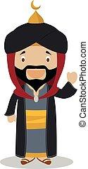 Saladin cartoon character. Vector Illustration.