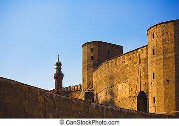 The walls of Saladin Citadel in sundown light