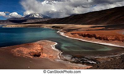 salado, lac, verde, del, chili, ojos, vulcano, laguna