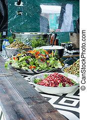 Salads in Outdoor Kitchen