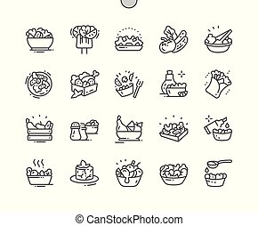Salads Well-crafted Pixel Perfect Vector Thin Line Icons 30...