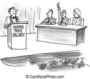 salaire, attente, offre, exposition, hôte, jeu