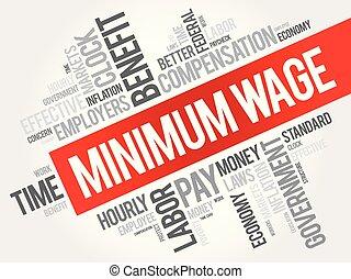 salaire, collage, minimum, mot, nuage