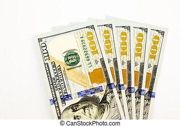 salaire, concept, édition, argent, dollar, billets banque, monnaie, revenu, nouveau, 100