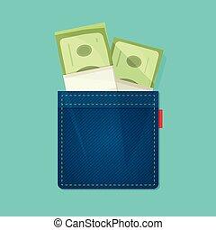 salaire, concept, jean, argent, dépenses, poche, tas, revenu