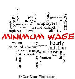 salaire, concept, mot, casquettes, minimum, nuage, rouges