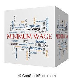 salaire, concept, mot, minimum, cube, nuage, 3d