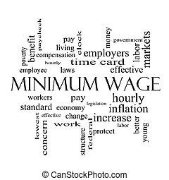 salaire, concept, mot, minimum, noir, nuage blanc