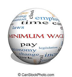 salaire, concept, mot, sphère, minimum, nuage, 3d