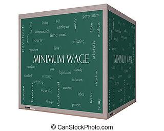 salaire, concept, mot, tableau noir, minimum, cube, nuage, 3d