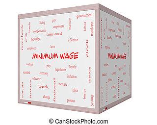 salaire, concept, mot, whiteboard, minimum, cube, nuage, 3d