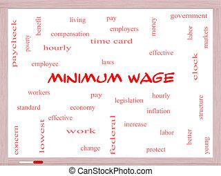 salaire, concept, mot, whiteboard, minimum, nuage