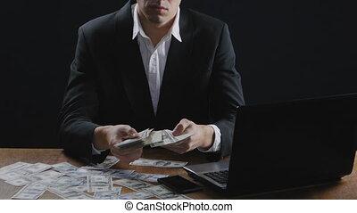 salaire, concept, séance, réussi, bureau., jeune, homme affaires, profit., argent, table, dénombrement, ou