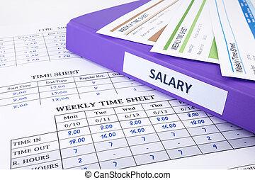 salaire, employé, relieur, feuille, temps